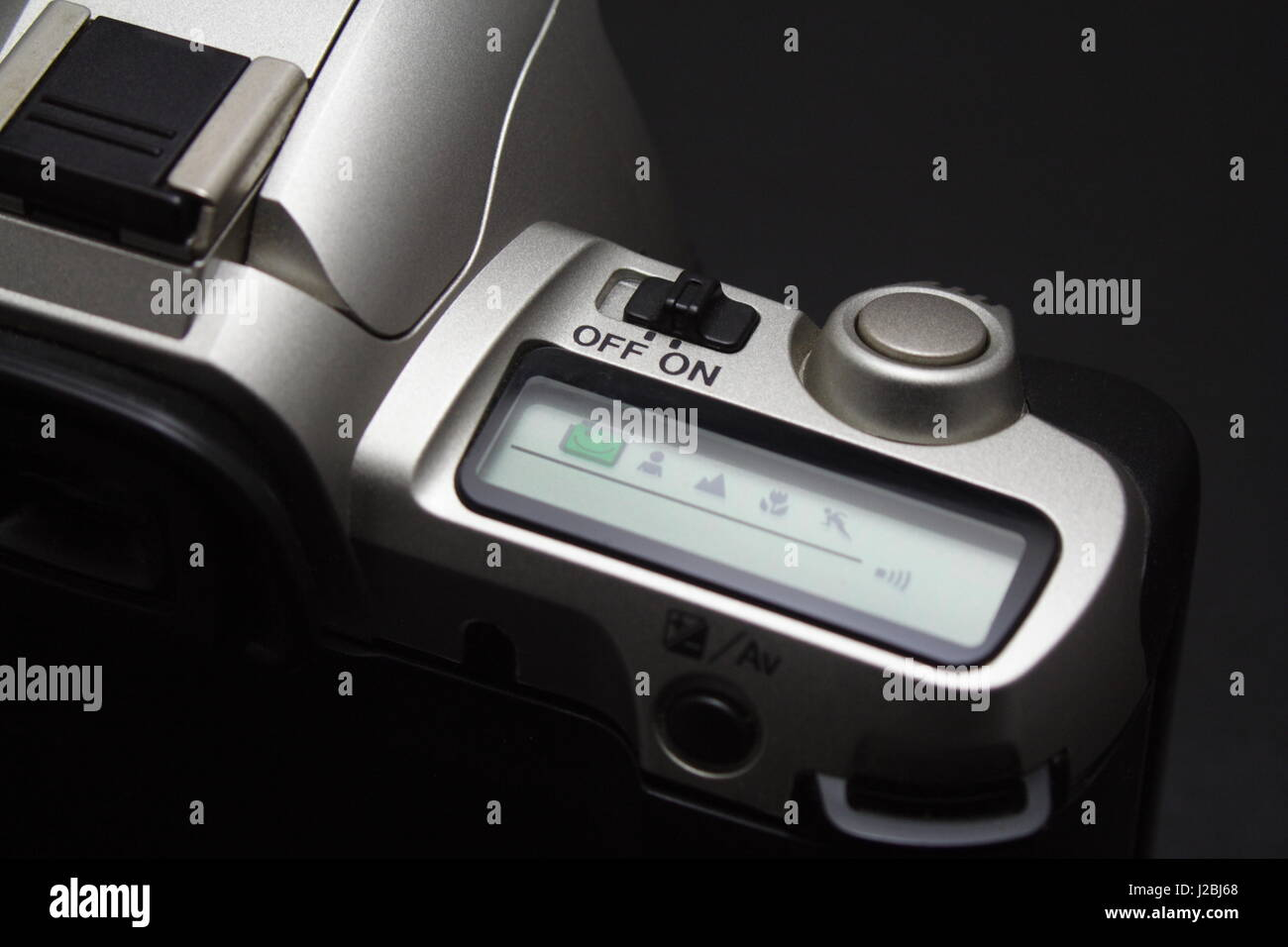 Film Camera Controls and LCD display on - Stock Image