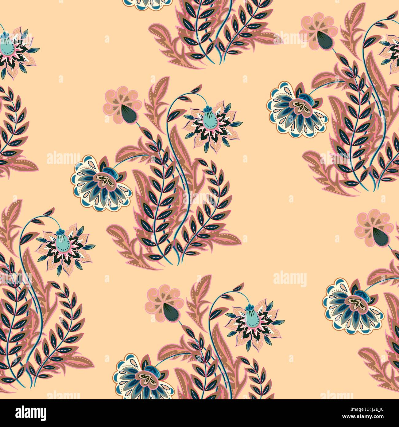 Seamless vector hand drawing flowers in chinoiserie style for Stock ...