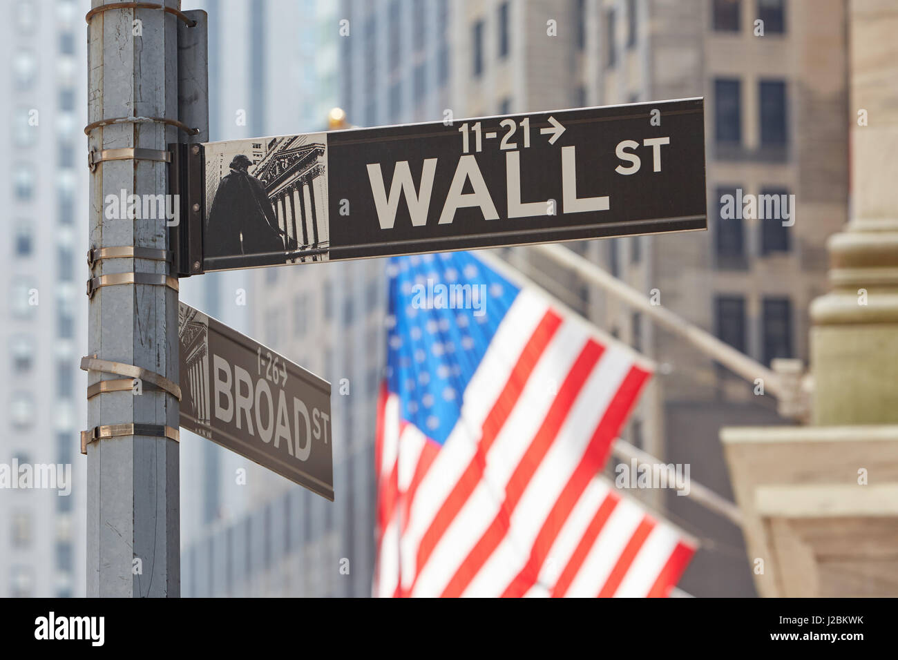 Wall Street sign near Stock Exchange with US flags, financial district in New York in a sunny day - Stock Image