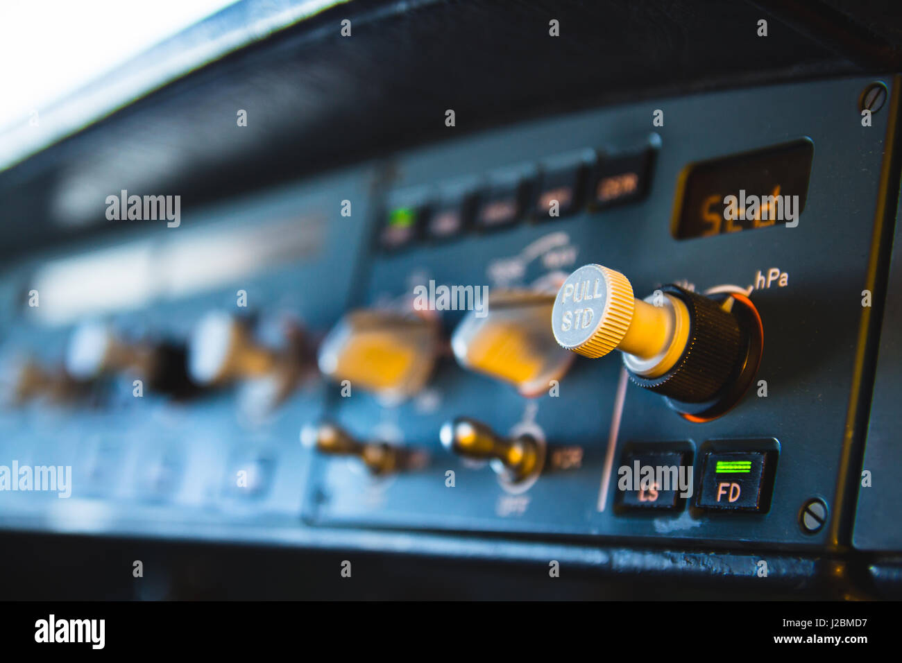 Airbus A320 autopilot instrument panel and controls. Flight Control Unit (FCU) with knobs, dials and buttons. - Stock Image