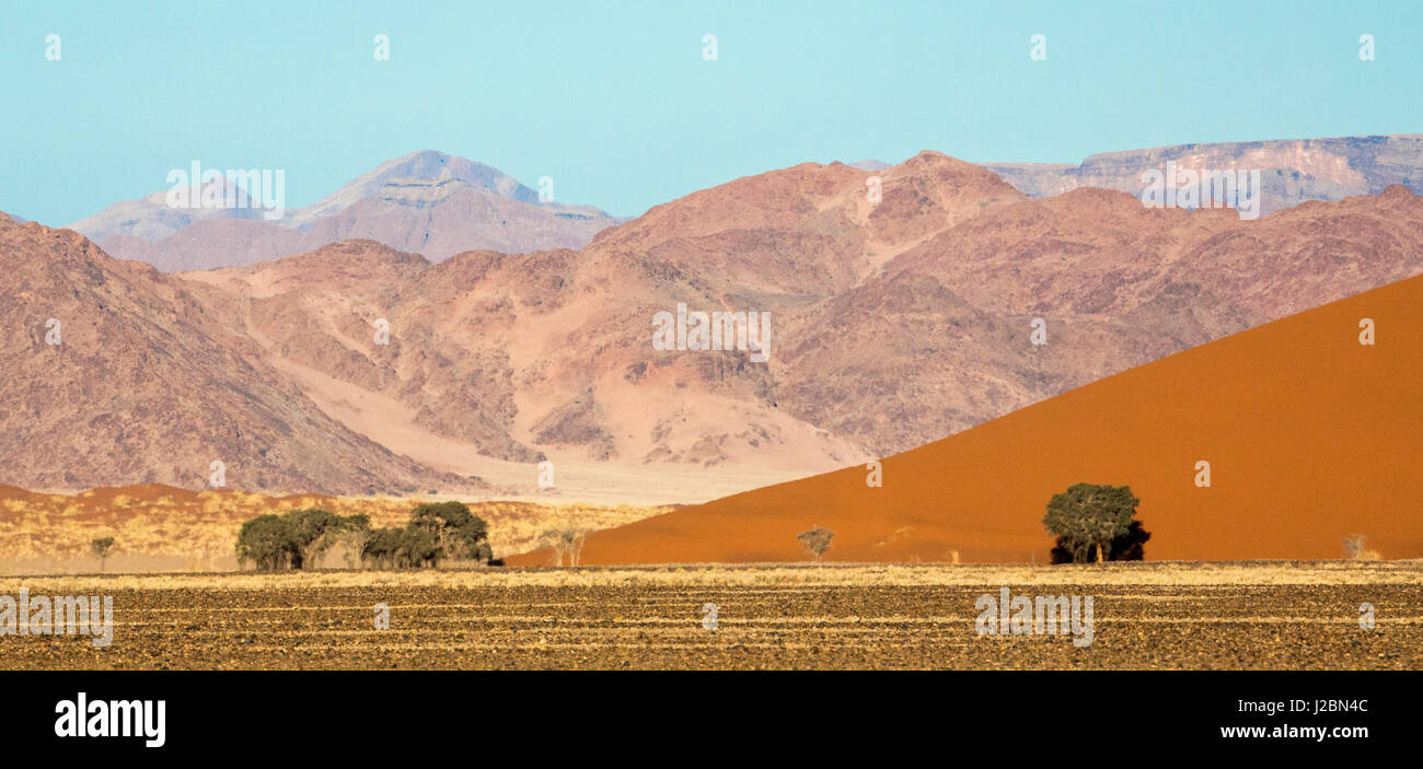 Africa, Namibia, Namib-Naukluft Park. Sand dune and contrasting mountains. Credit as: Wendy Kaveney / Jaynes Gallery - Stock Image