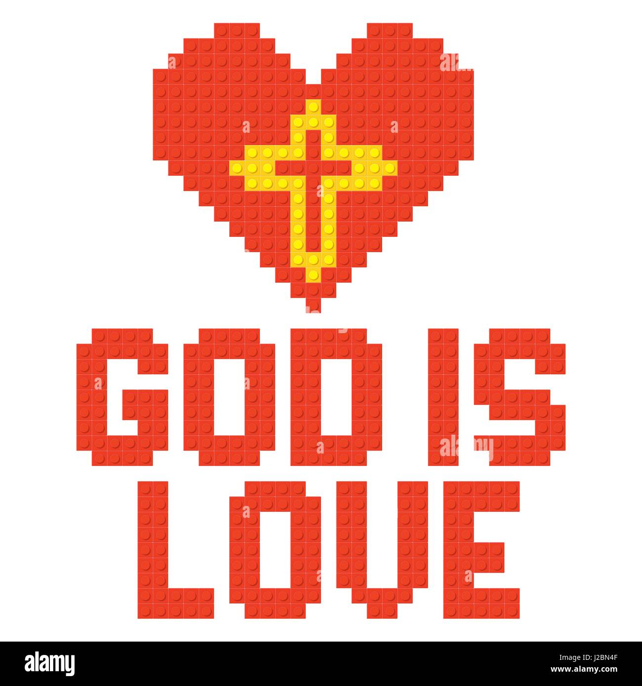 Christian Symbols In The Form Of Lego God Is Love Stock Vector Art
