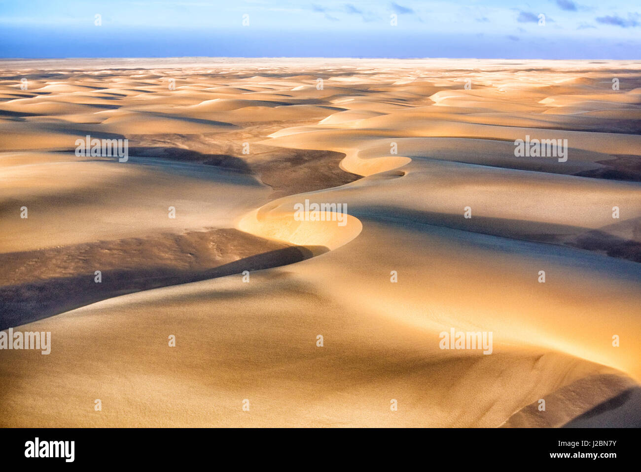 Skeleton Coast, Namibia. Aerial view of immense sand dunes. - Stock Image