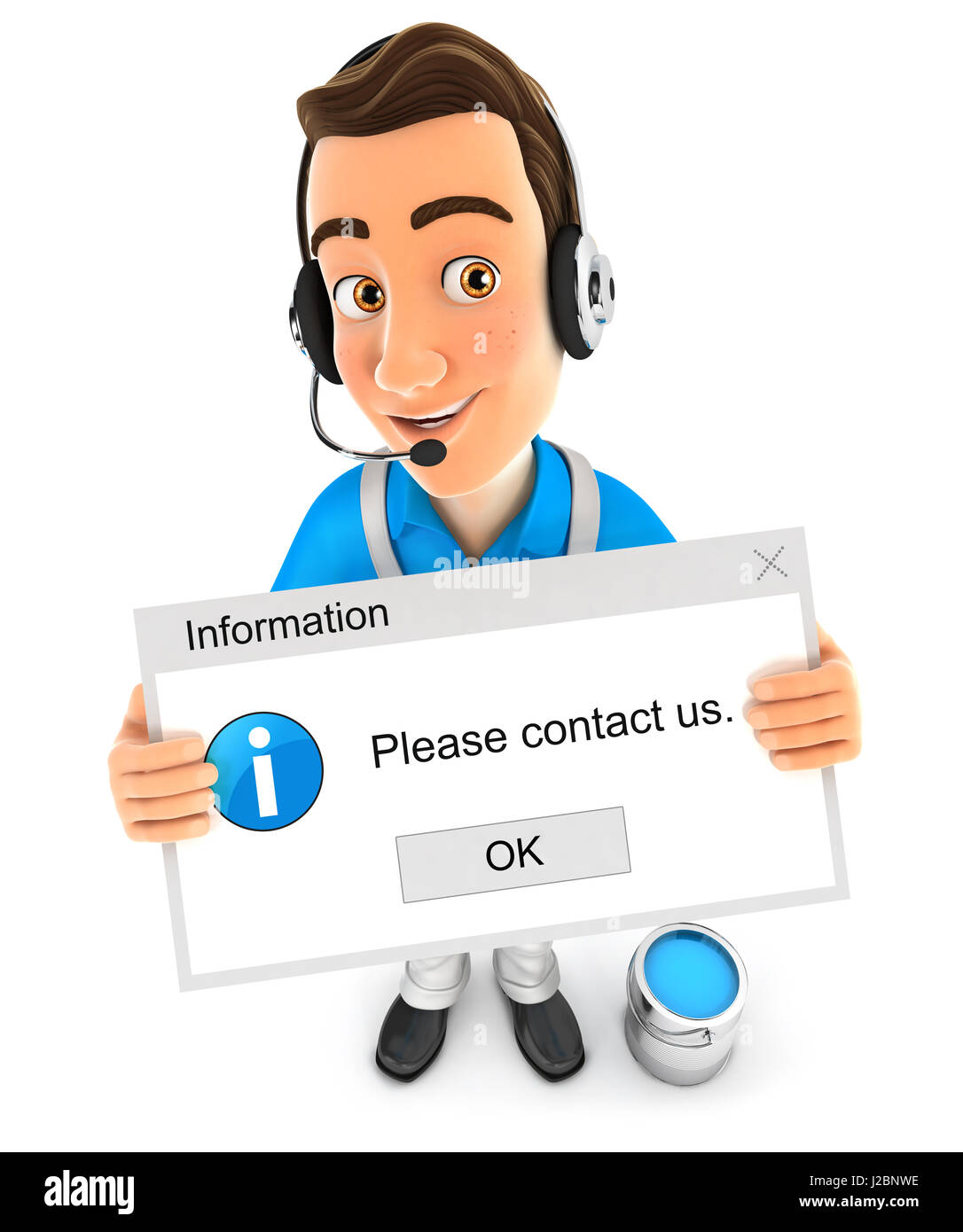 3d painter holding contact message, illustration with isolated white background Stock Photo