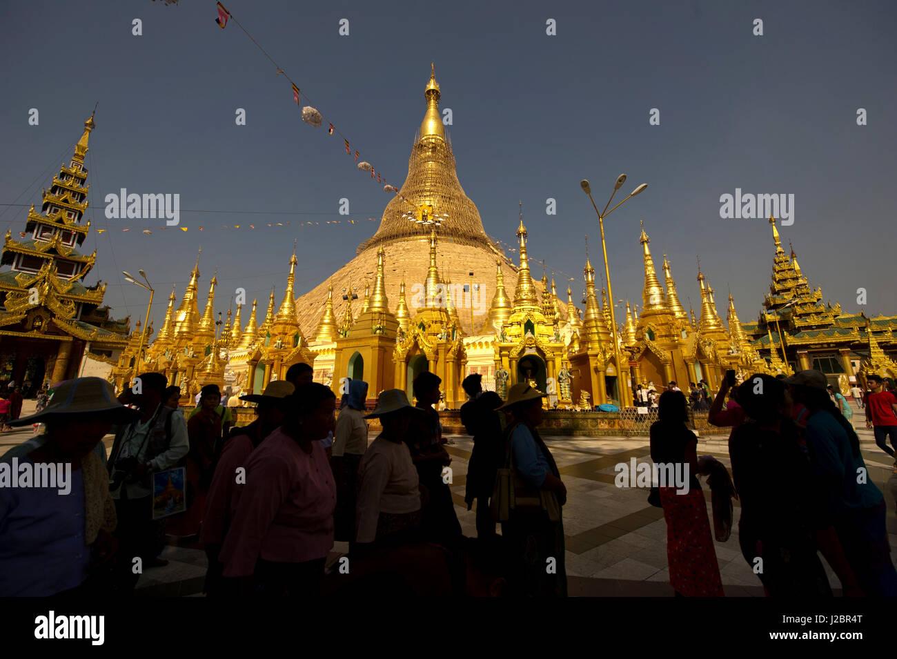 Shwedagon Pagoda, Officially named Shwedagon Zedi Daw is a gilded stupa located in Yangon, Myanmar. - Stock Image