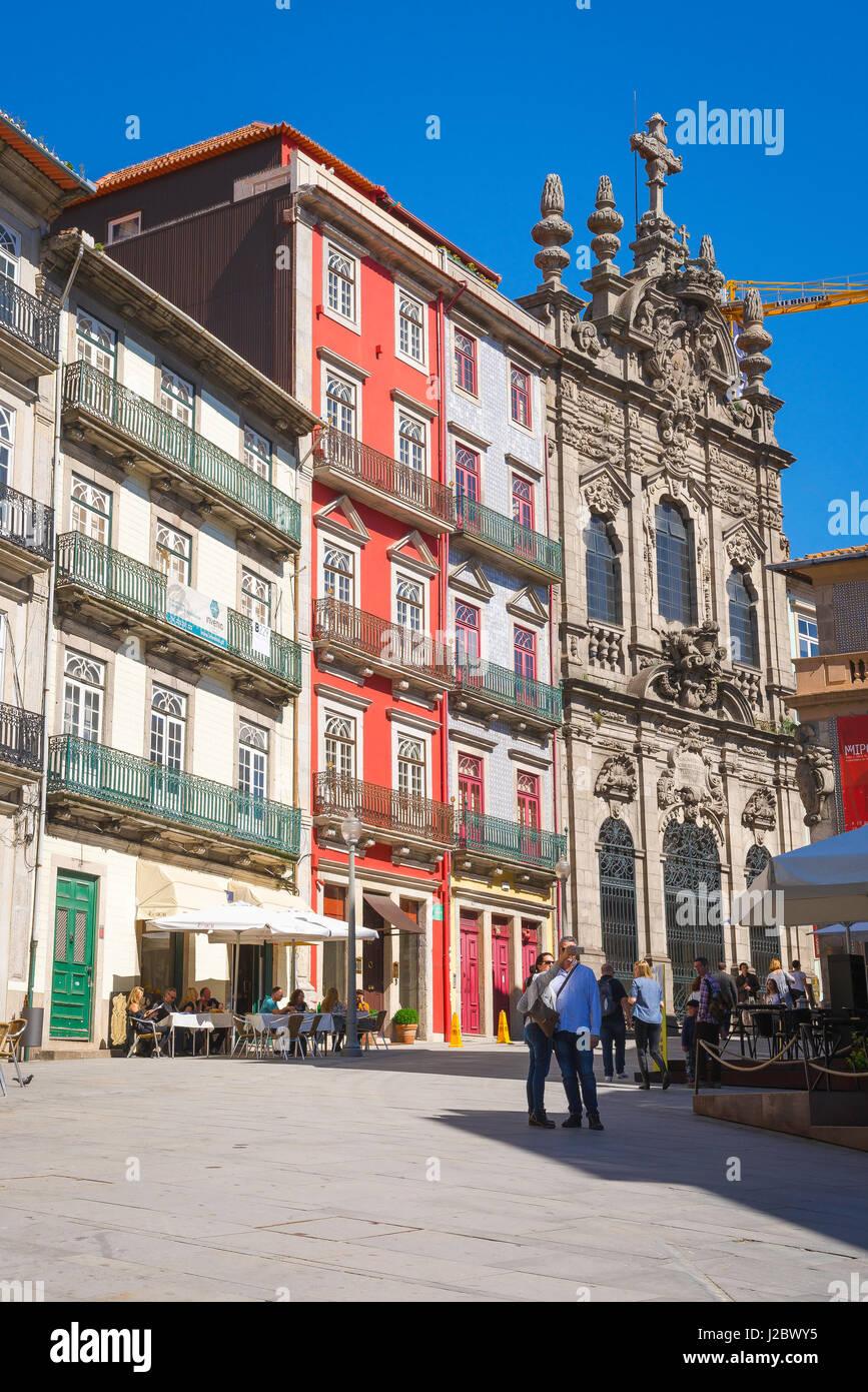 Porto Portugal street, the Largo de Santo Domingos - a small Baroque square in the old town area of Porto, Europe - Stock Image