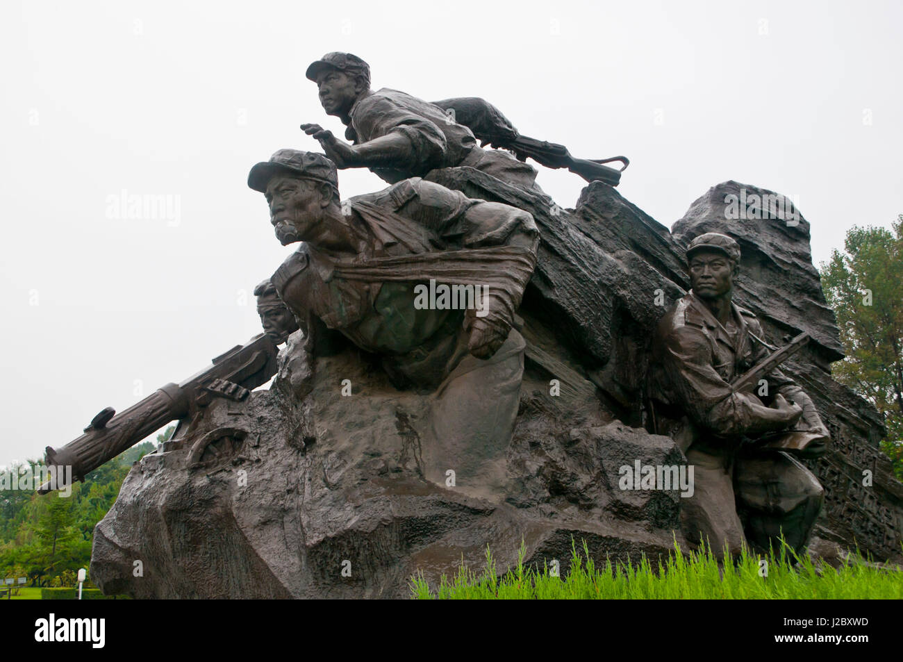 The monument to the victorious fatherland liberation war, Pyongyang, North Korea - Stock Image