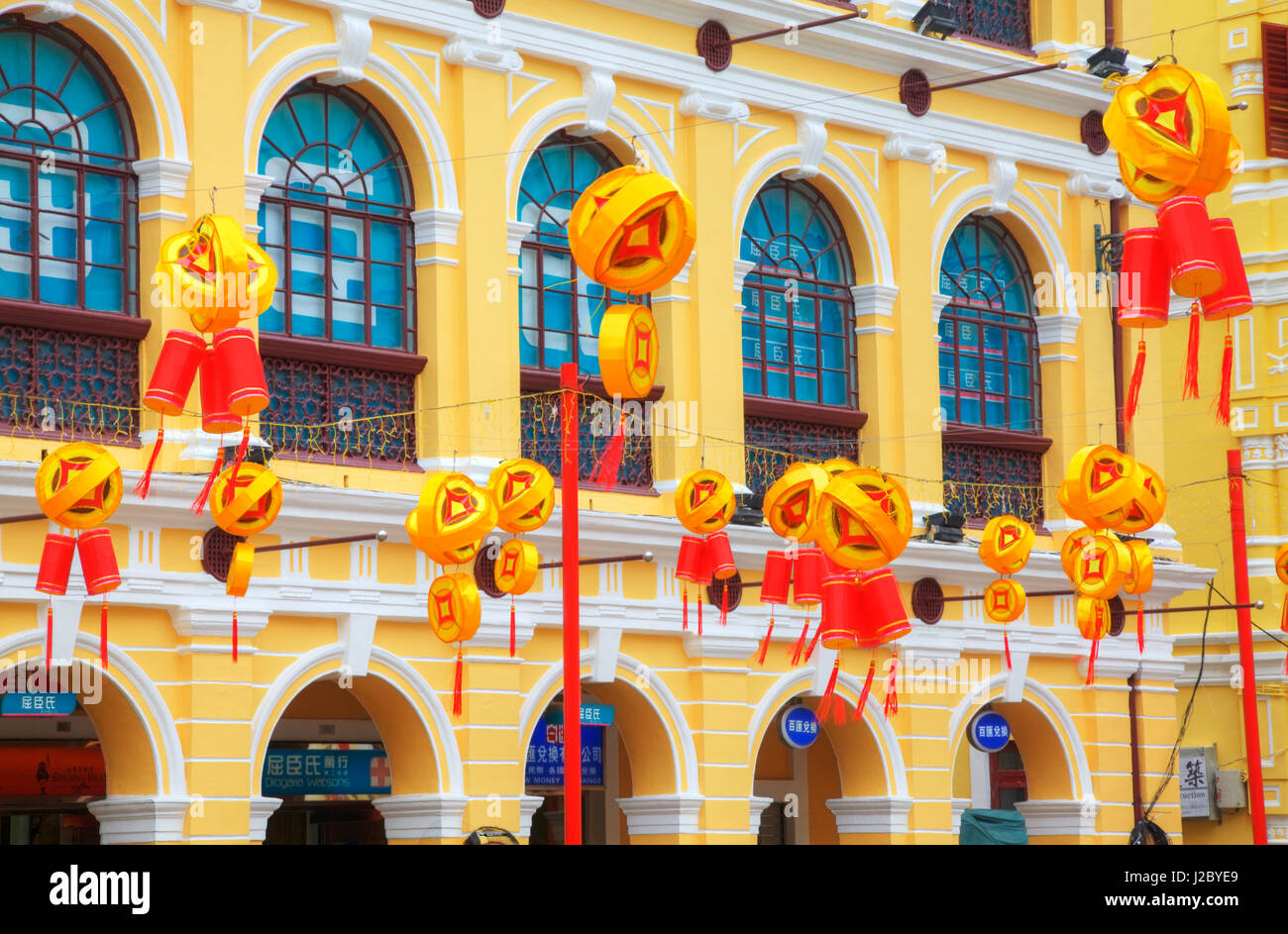 China, Macau, Tile Covered Streets in Main Shopping Area of Town at ...