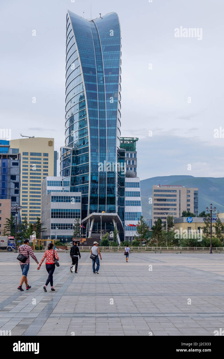 Asia, Mongolia, Ulaanbaatar. Sukhbaatar Square, (Chinggis Square). Blue Sky Tower. (Editorial Use Only) Stock Photo