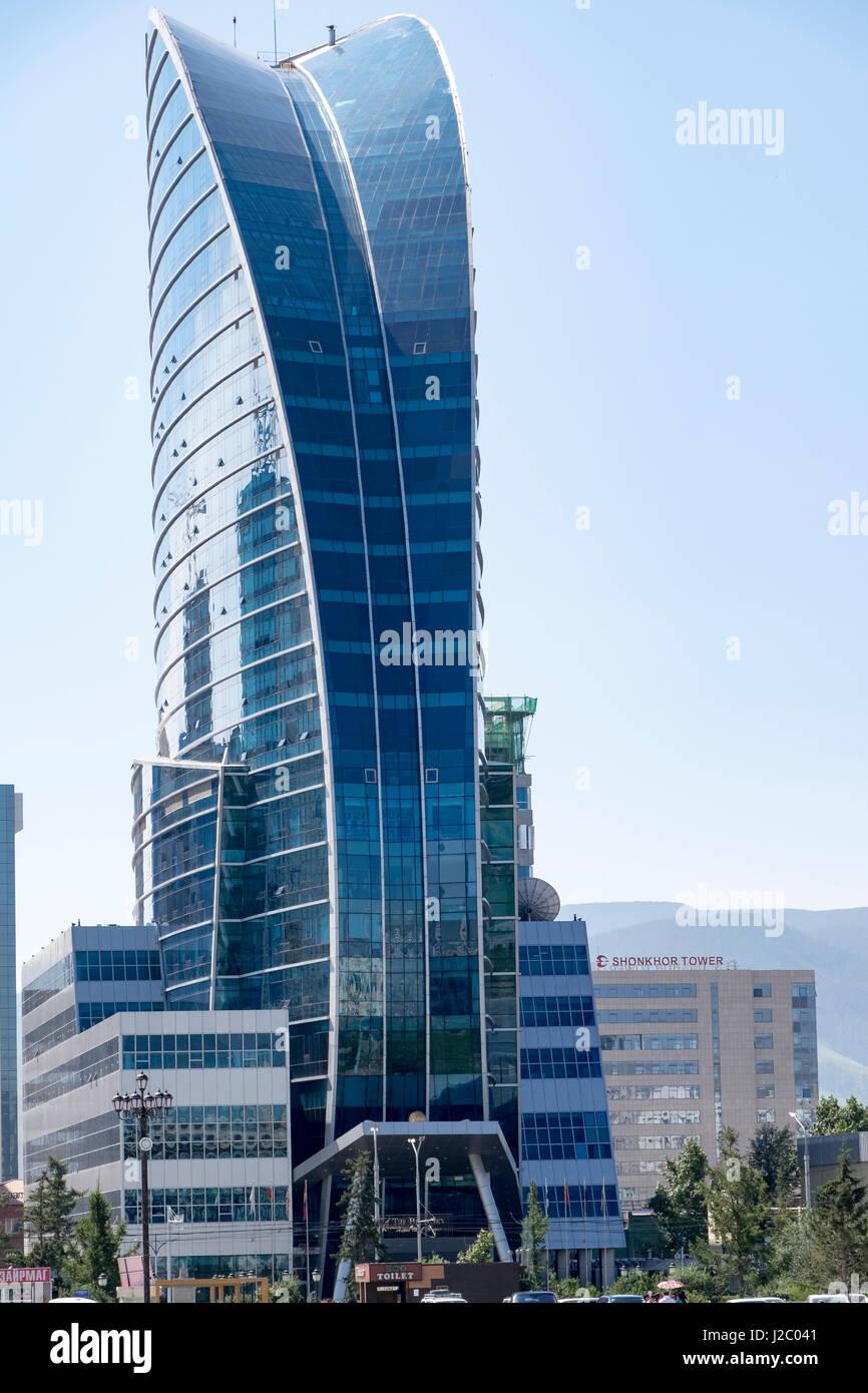 Mongolia, Ulaanbaatar. Blue Sky Tower. Stock Photo