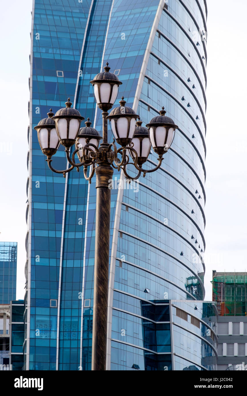 Asia, Mongolia, Ulaanbaatar, Mongolian National Theater. Sukhbaatar Square, (Chinggis Square). Blue Sky tower, residential Stock Photo
