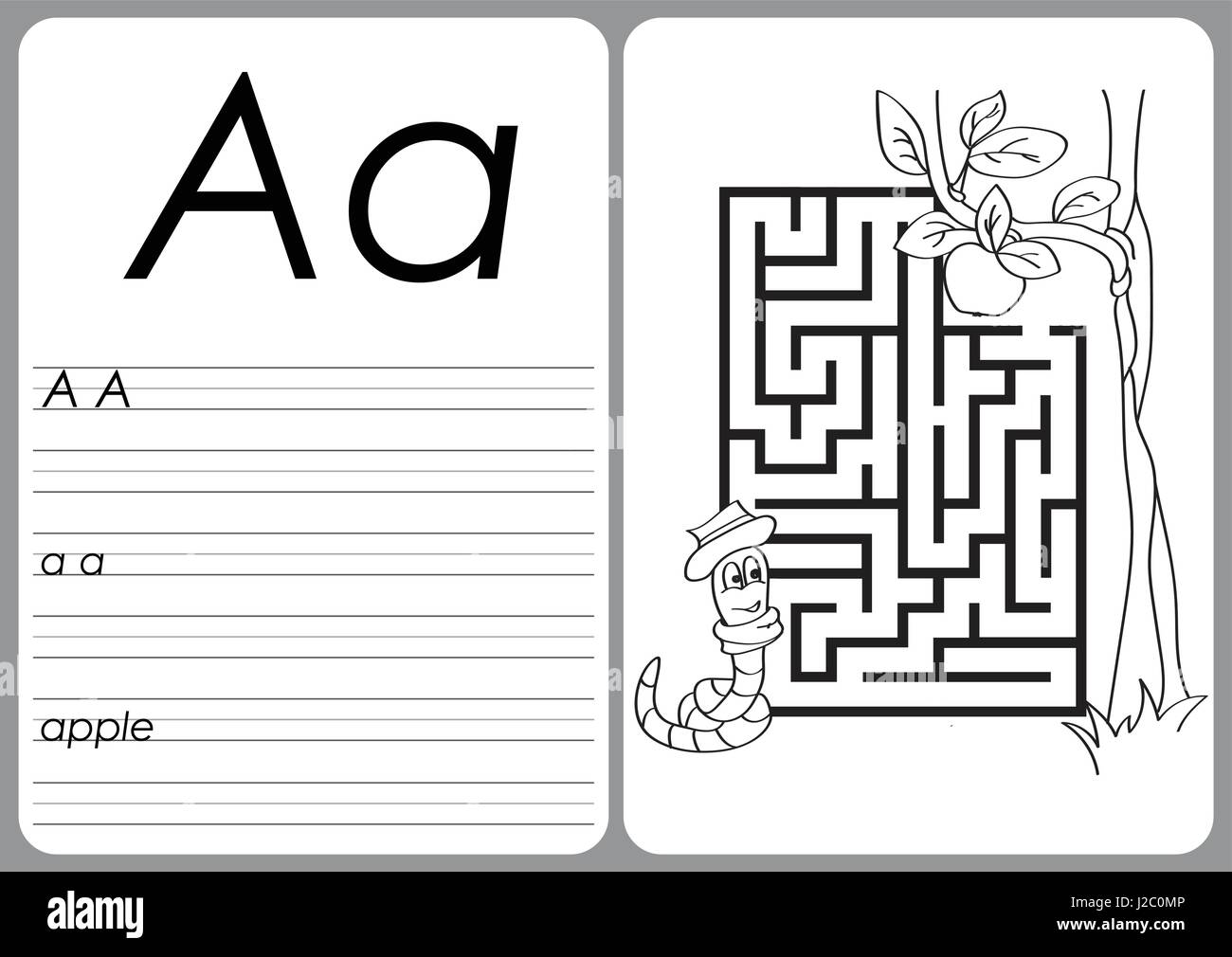 Alphabet A-Z - puzzle Worksheet - Coloring book Stock Vector Art ...