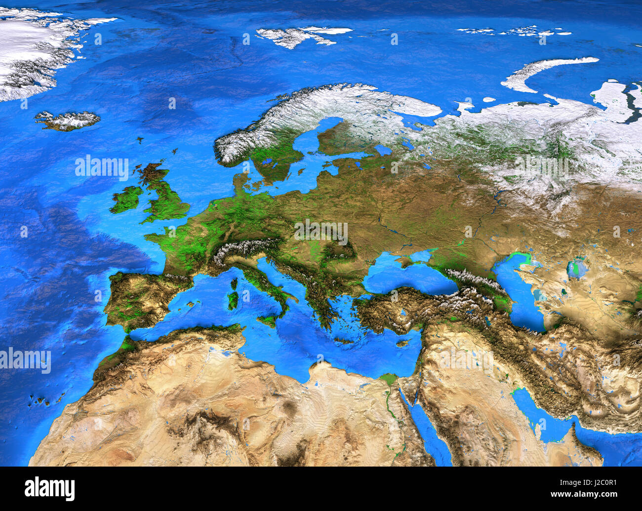Europe map. Detailed satellite view of the Earth and its landforms on