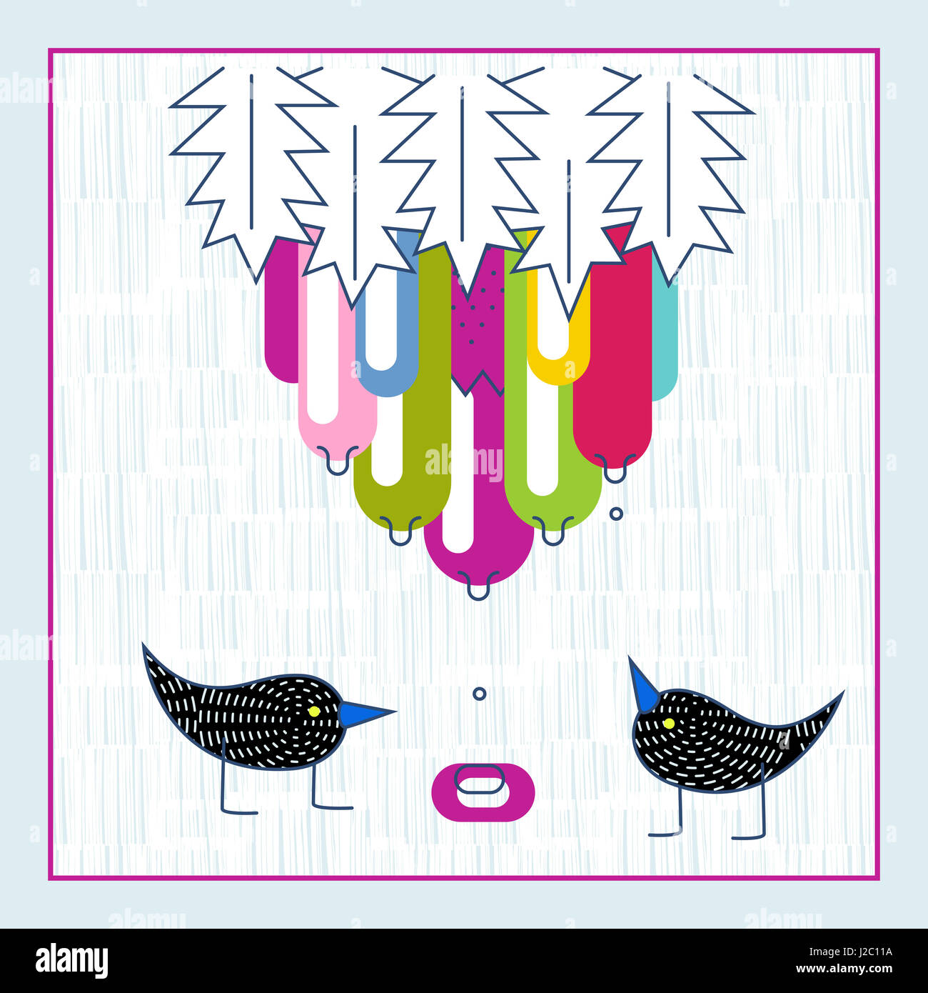 Cute Birds Exotic Fruit Water Drops Baby Shower Invitation