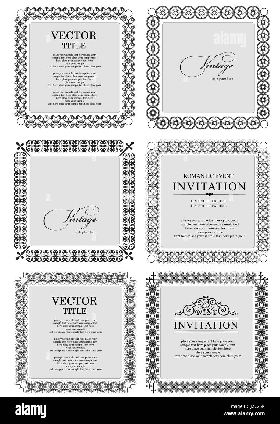 Collection of ornate vintage vector frames with sample text. Perfect ...