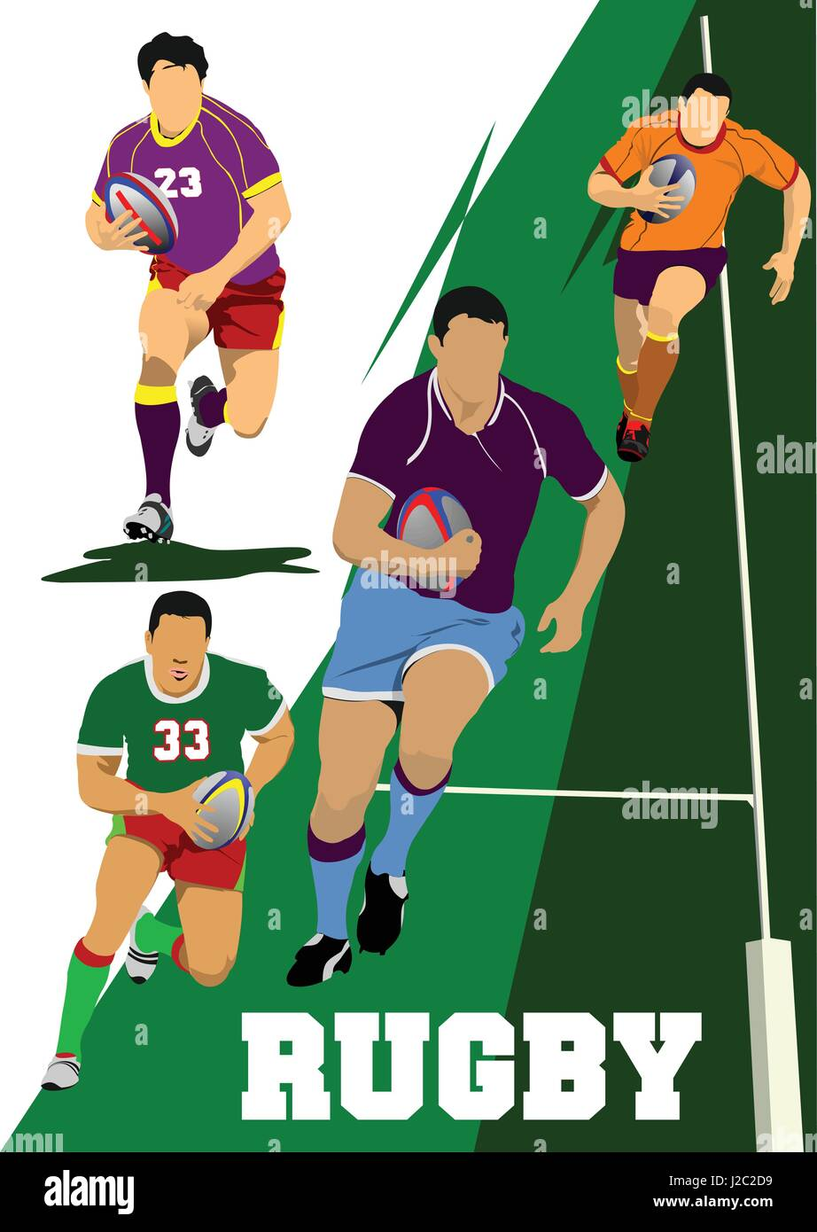 Collection of Rugby Player Silhouettes. Vector illustration - Stock Vector
