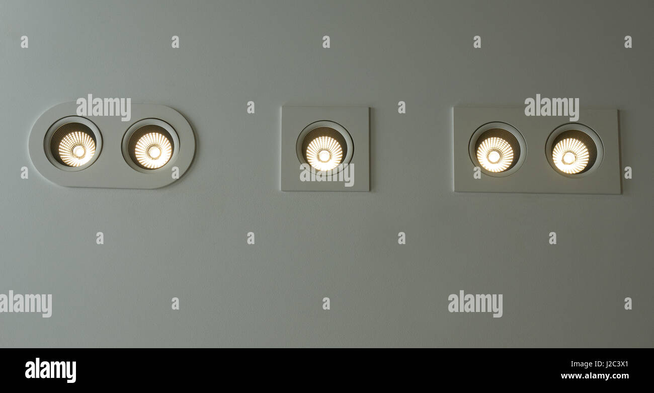 Electric led lamps mounted in the wall - Stock Image