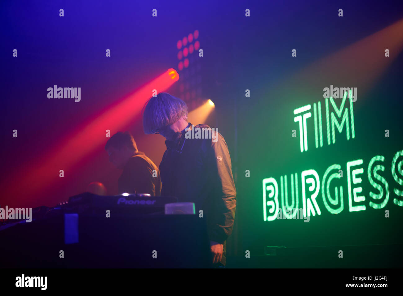 Tim Burgess DJing live at the BBC Radio 6 Music Festival, Salford Manchester. - Stock Image