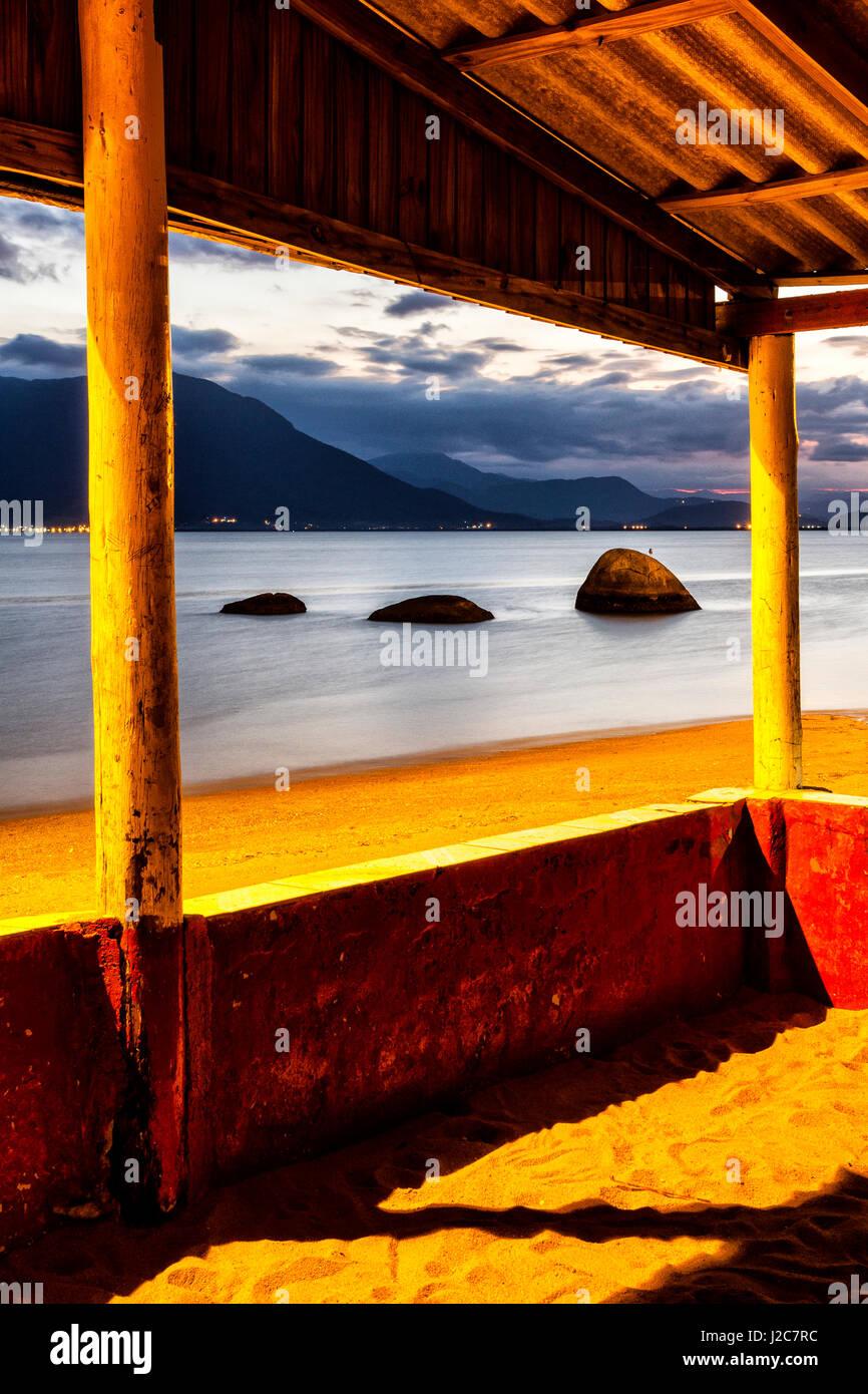 Tapera Beach at evening. Florianopolis, Santa Catarina, Brazil. - Stock Image