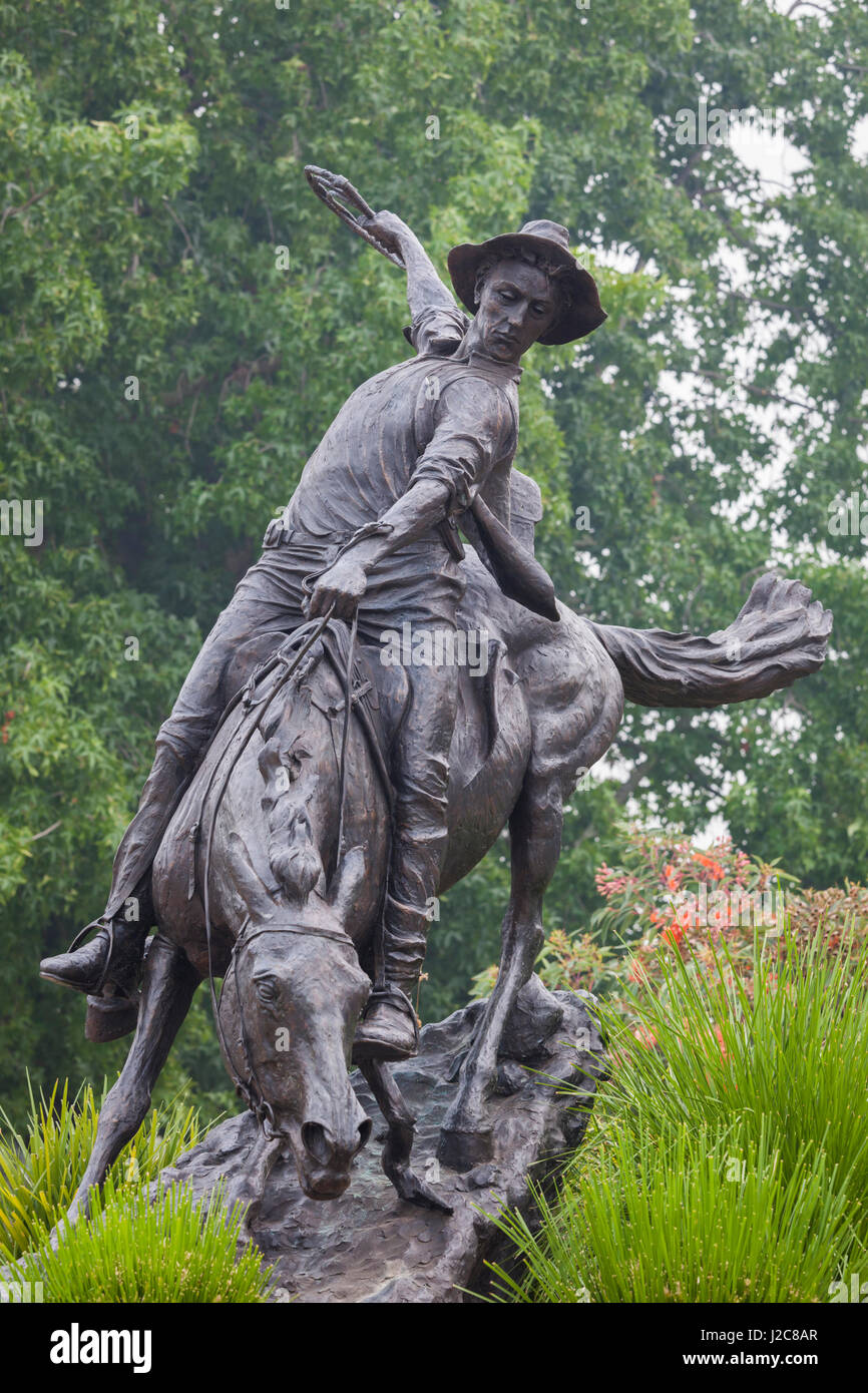 Australia, Victoria, Corryong, statue of Jack Riley, The Man from Snowy River - Stock Image