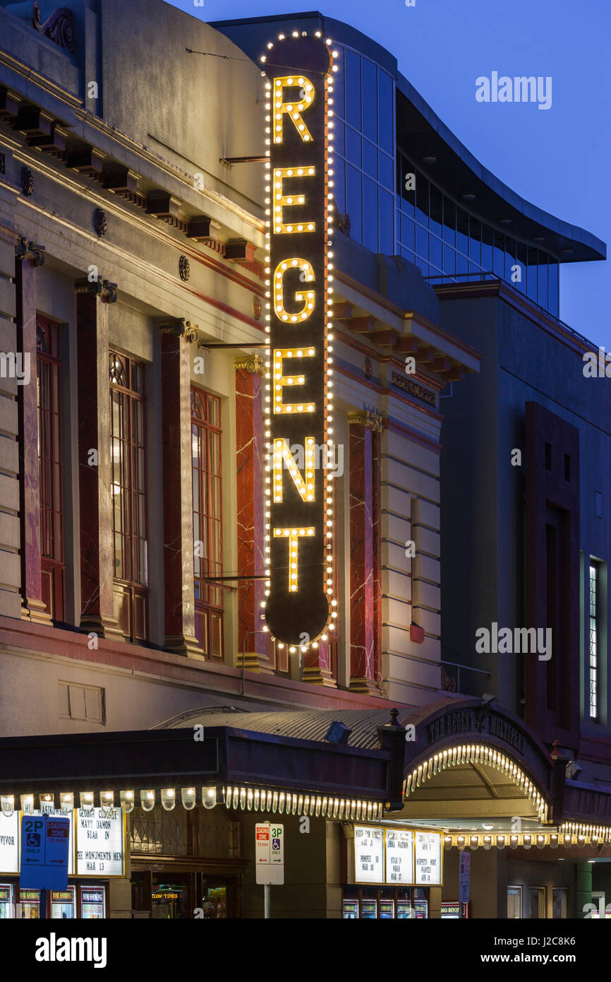 Australia, Victoria, Ballarat, Regent Theater sign, dusk - Stock Image