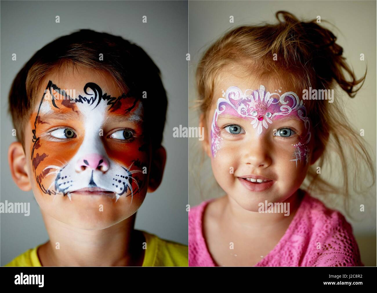6 years old boy with blue eyes face painting of a cat or tiger pretty stock photo 139182598 alamy. Black Bedroom Furniture Sets. Home Design Ideas