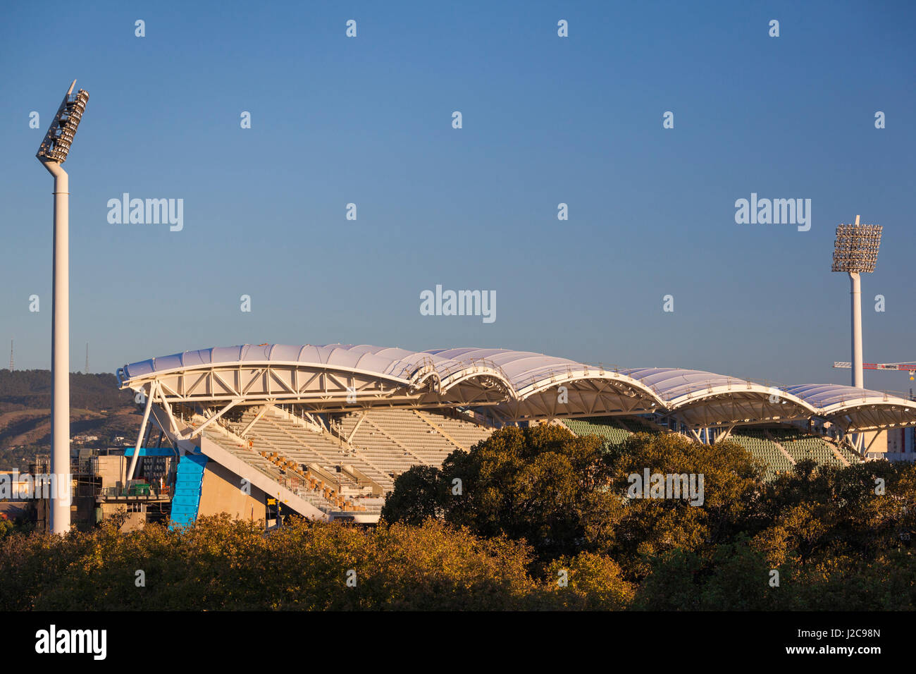 Australia, Adelaide, Adelaide Oval, elevated view - Stock Image