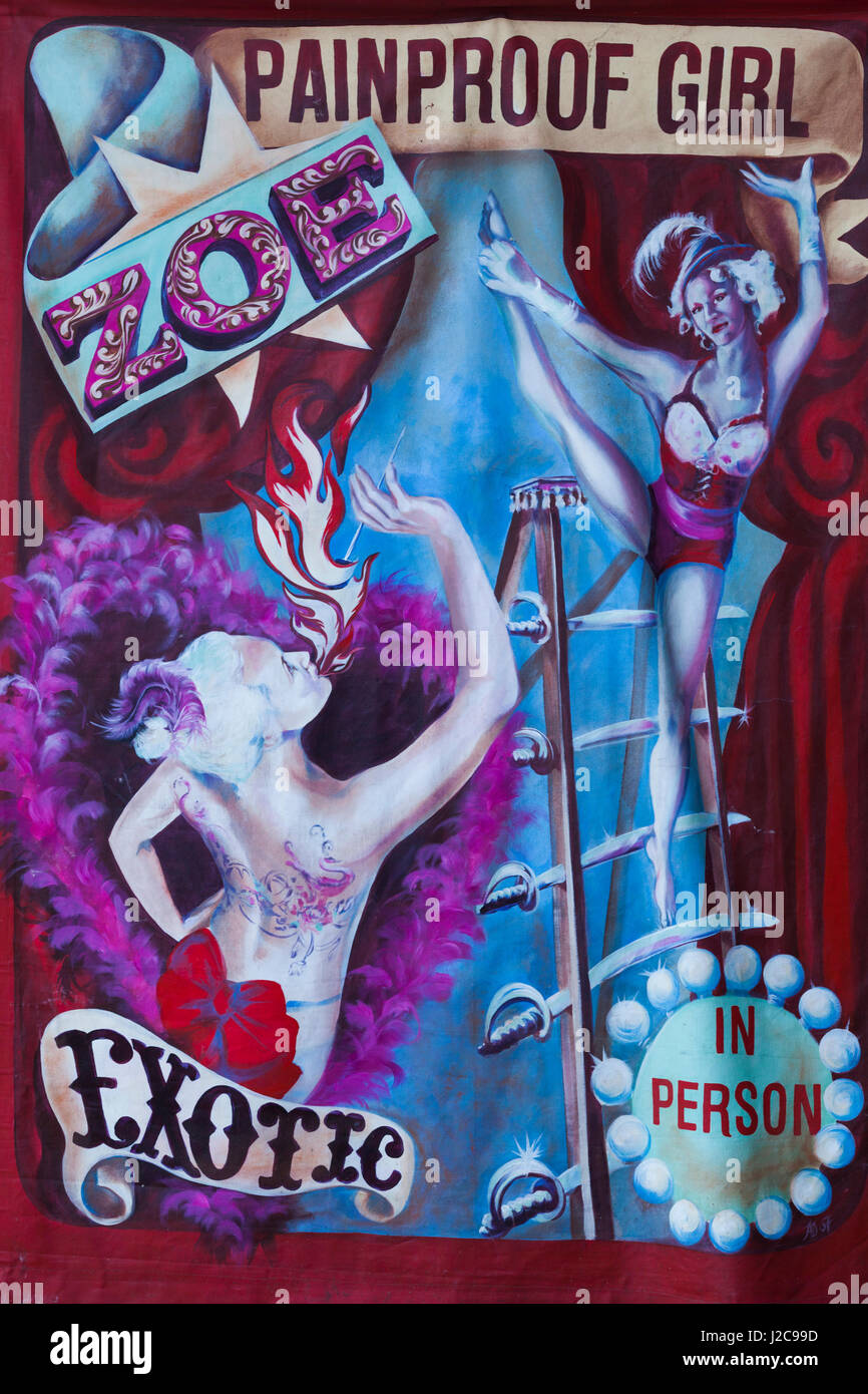 Australia, Adelaide, Rundle Park, The Garden of Unearthly Delights, Zoe the Painproof Girl, sign - Stock Image