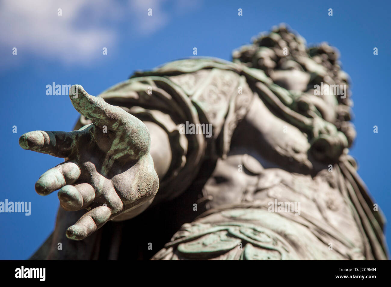Hand detail on bronze statue of King Louis XIV in Musee Carnavalet, Marais, Paris, France - Stock Image