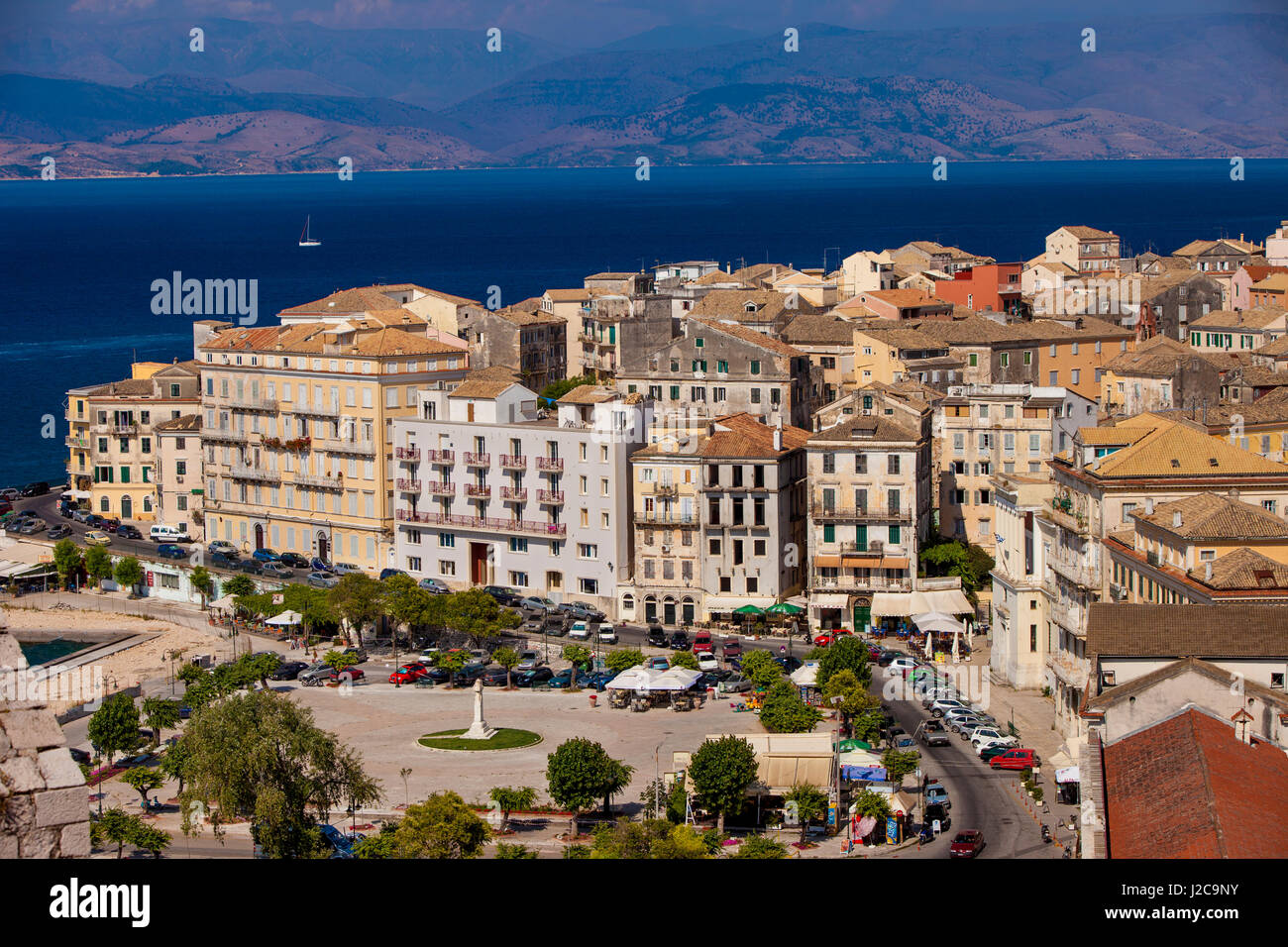 View overlooking Town Square and Buildings of Corfu Town (Kerkyra) on the Ionian Island of Cofu, Greece - Stock Image