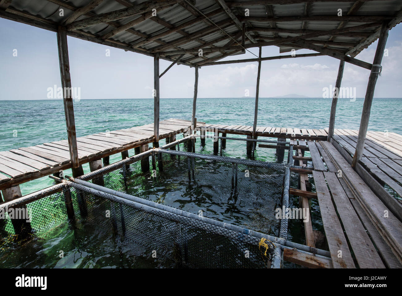 Landscape view from a lobster aggregation house with the Isle of Youth in the background, Southern Coast, Cuba - Stock Image