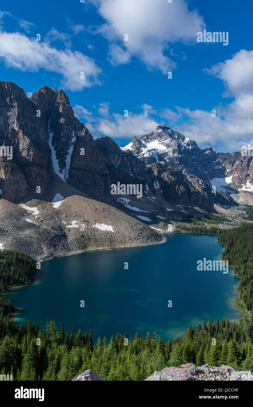 Sunburst Peak and the Marshall, Cerulean Lake from the Nublet Stock Photo