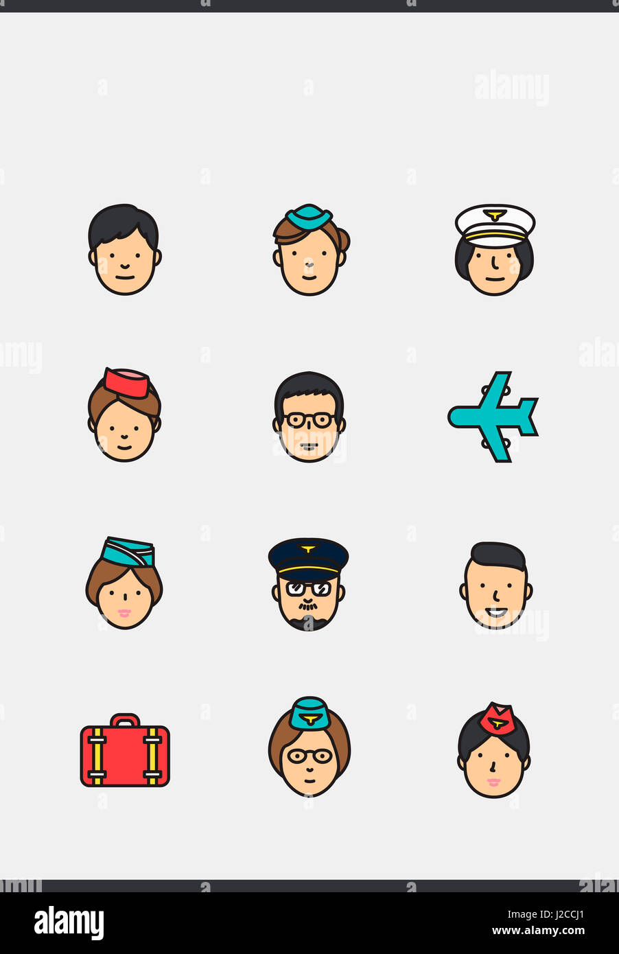 Icons of pilots and flight attendants - Stock Image