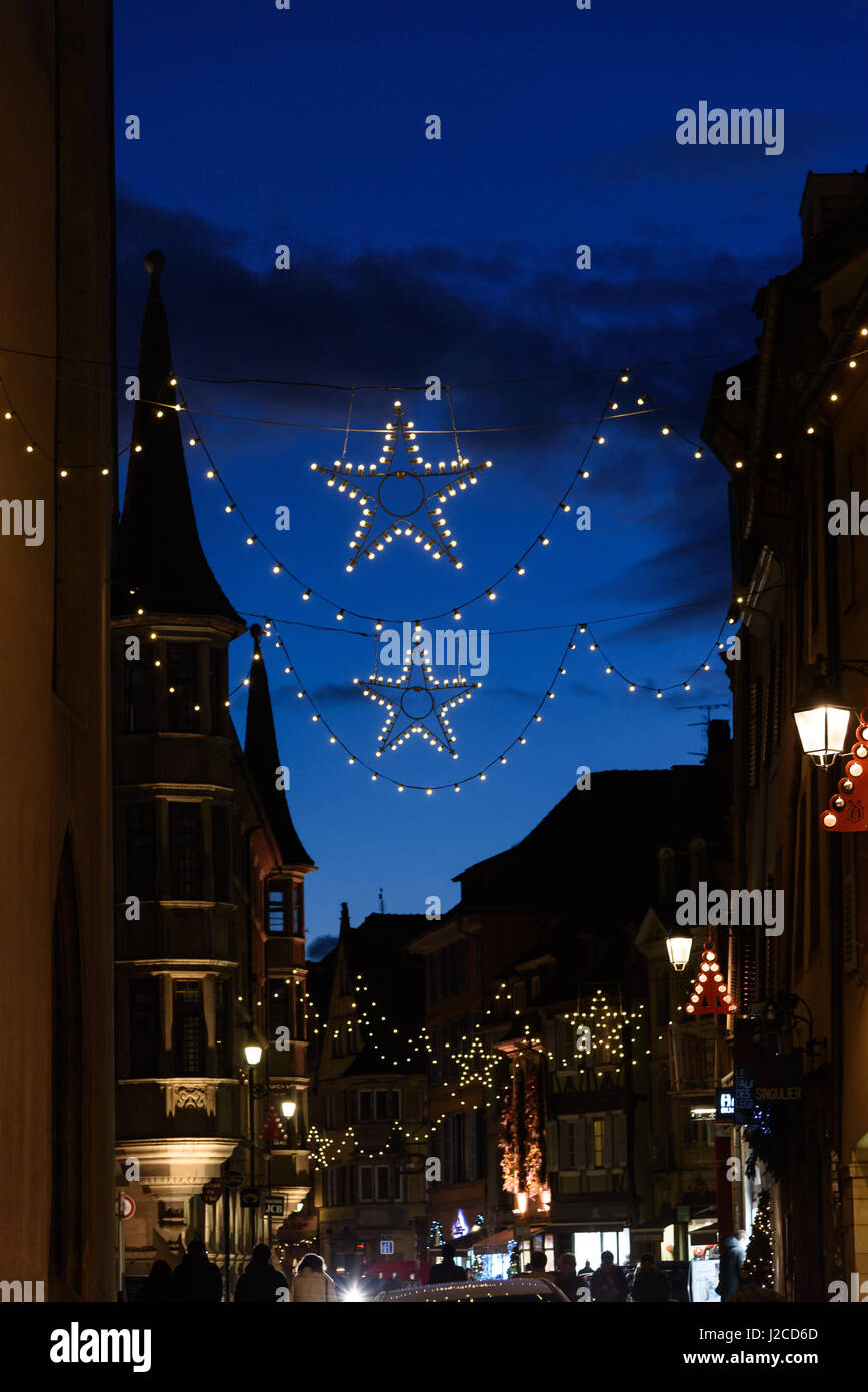 "France, Grand Est, Colmar, Christmas market, Christmas in Alsace is known under the slogan ""Noel en Alsace"" Stock Photo"