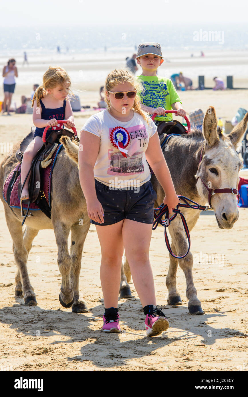 Donkey ride for two small children on the beach at Dymchurch on a sunny afternoon. Stock Photo