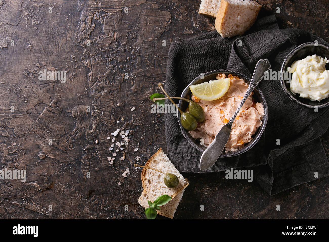 Salmon pate with red caviar - Stock Image