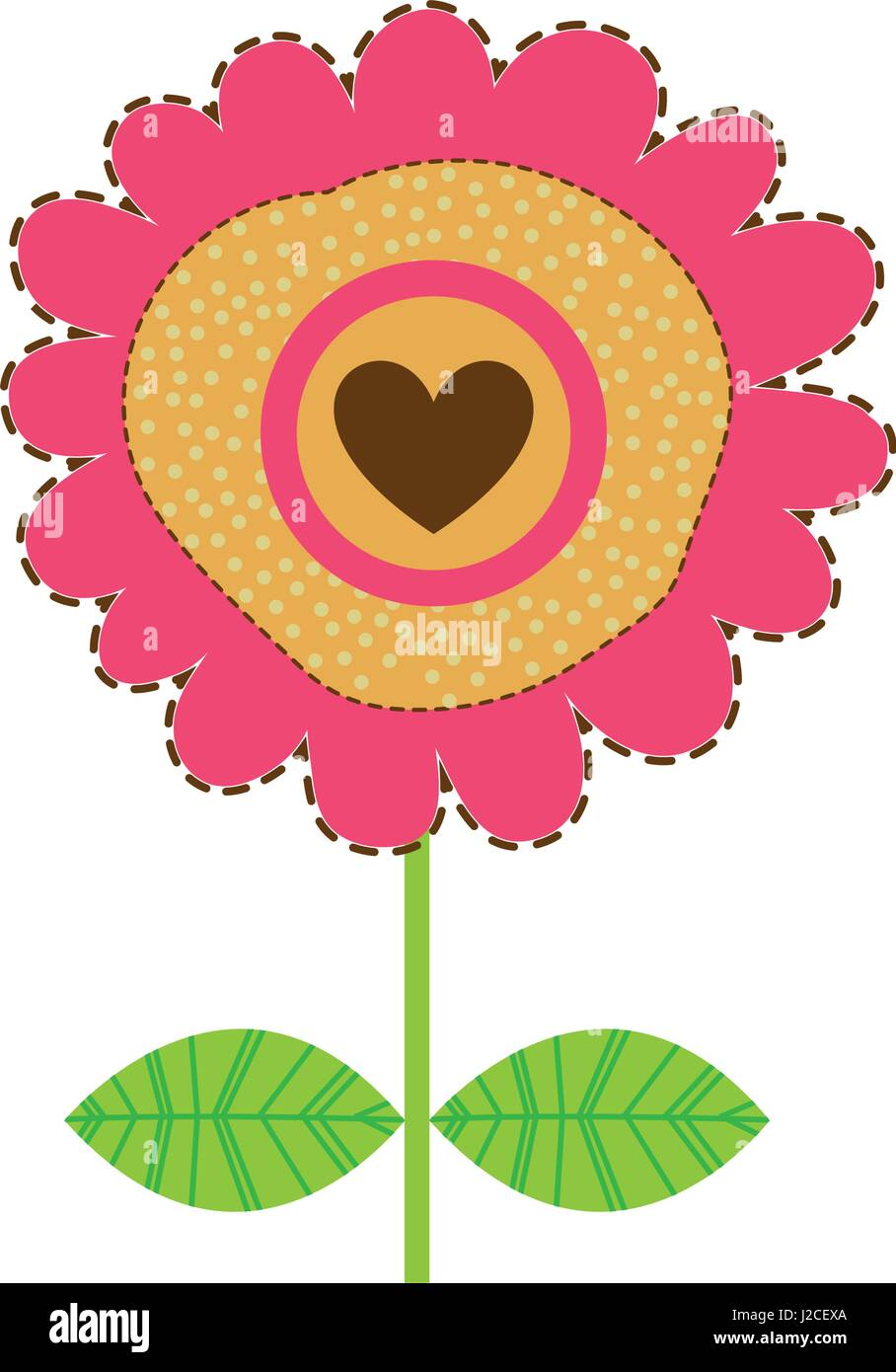 white background with magenta sunflower with emblem of heart - Stock Vector