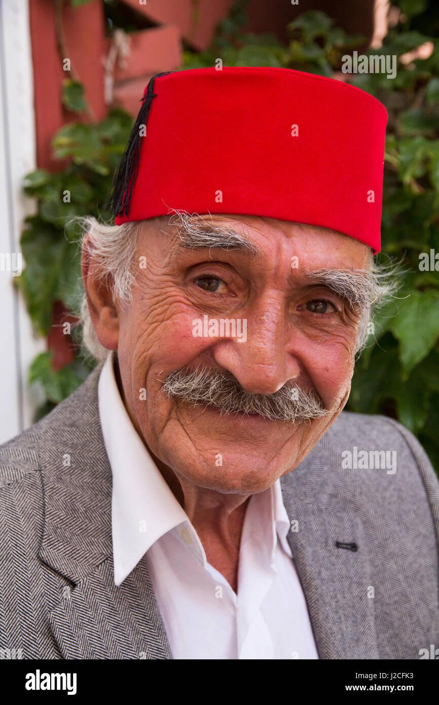 Turkey, Istanbul  Turkish elderly man with red Fez hat  The