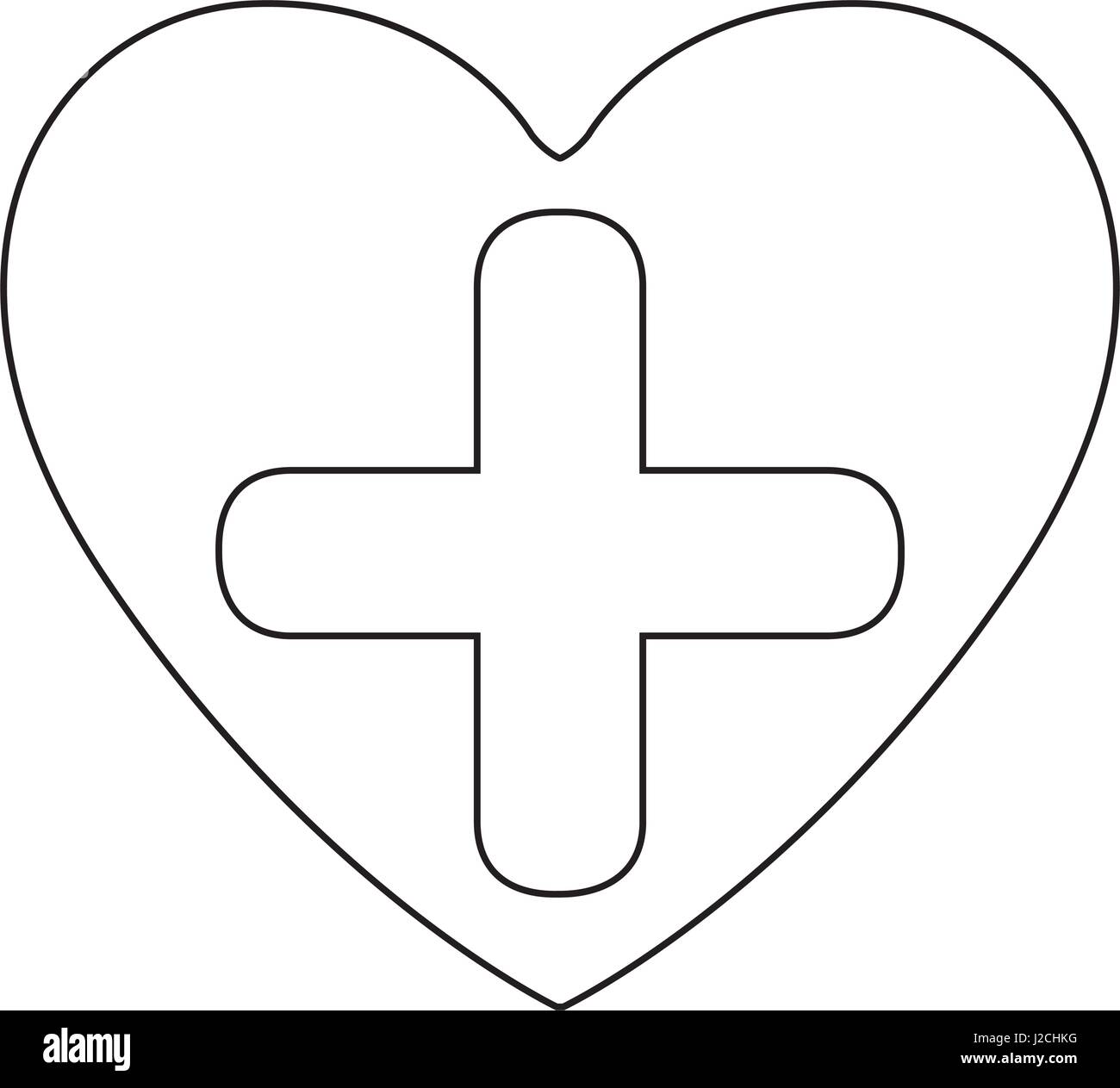 Silhouette Heart Health With Cross Form