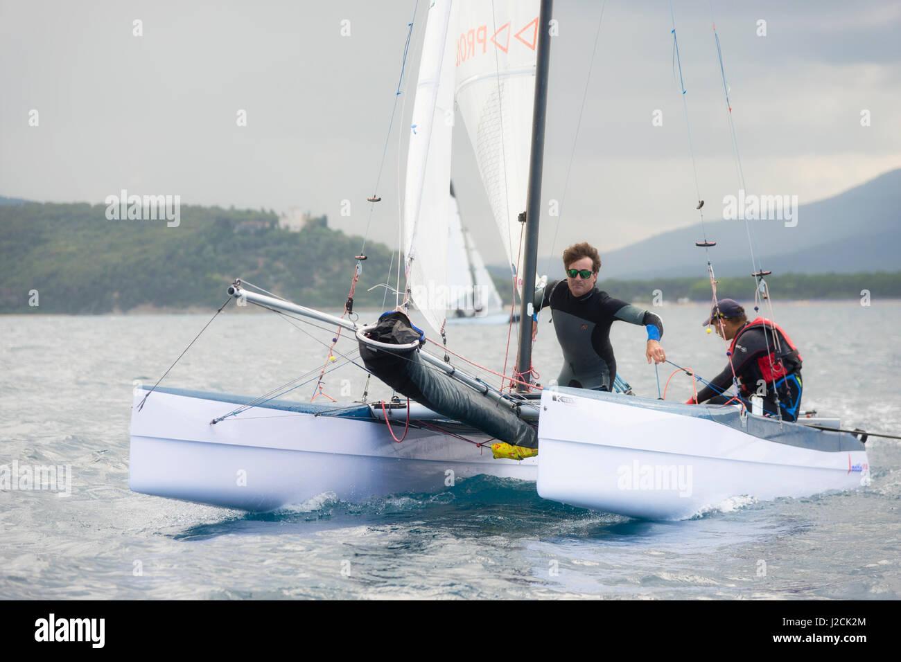PUNTA ALA - 3 JUNE: teams sailing on Formula 18 national catamaran race, on June 3 2016 in Punta Ala, Italy - Stock Image