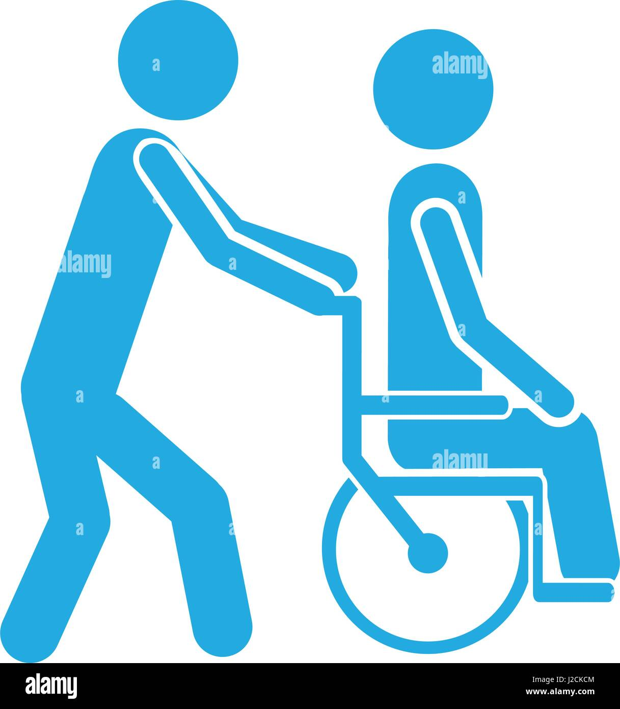 Color Silhouette Person Helping Another Push A Wheelchair