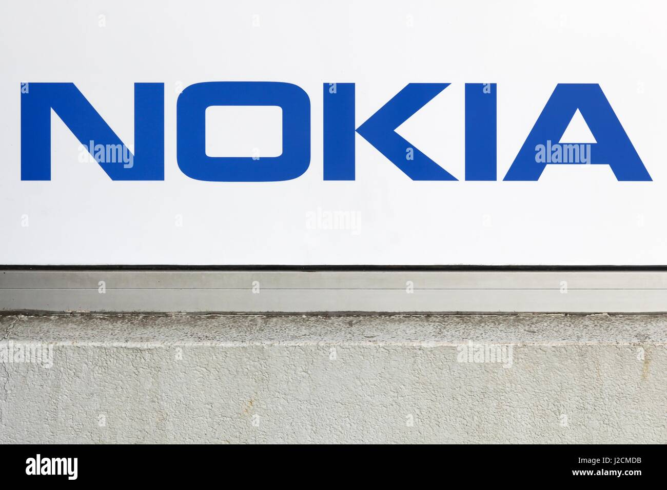 Villefranche, France - March 13, 2017: Nokia logo on a wall. Nokia is a Finnish multinational communications and Stock Photo