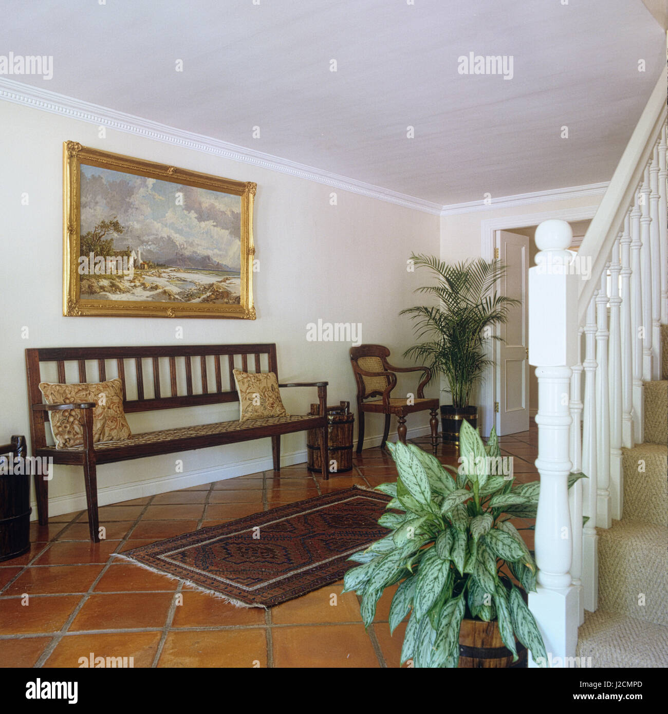 Bench Seat In Entrance Hall Stock Photo Alamy
