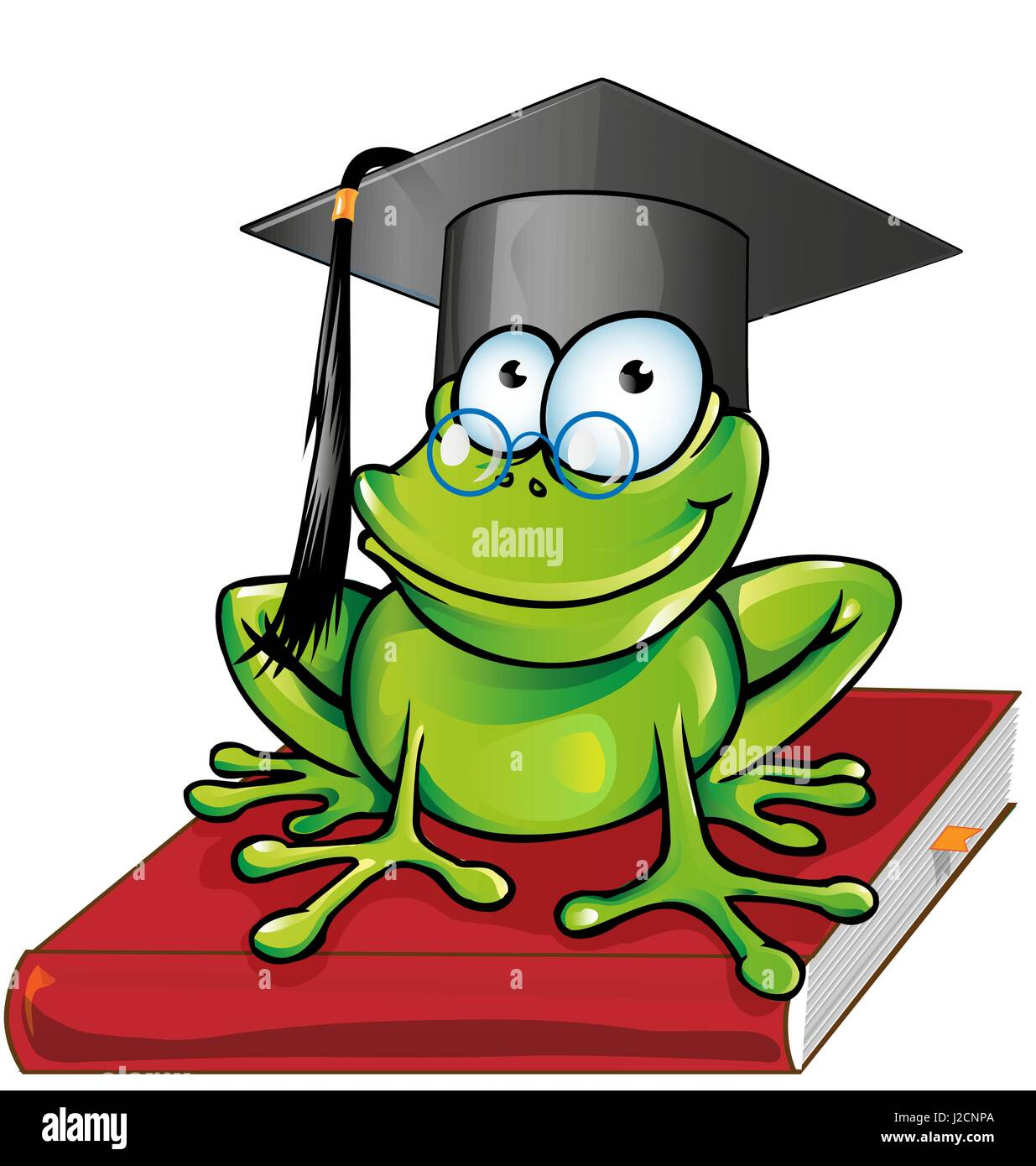 Wise frog  cartoon on book - Stock Vector