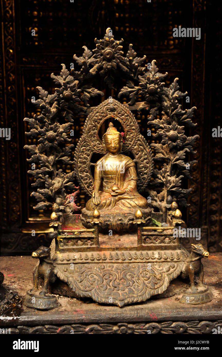 Old Bronze Buddhist Statue Artefact, Kathmandu Nepal - Stock Image