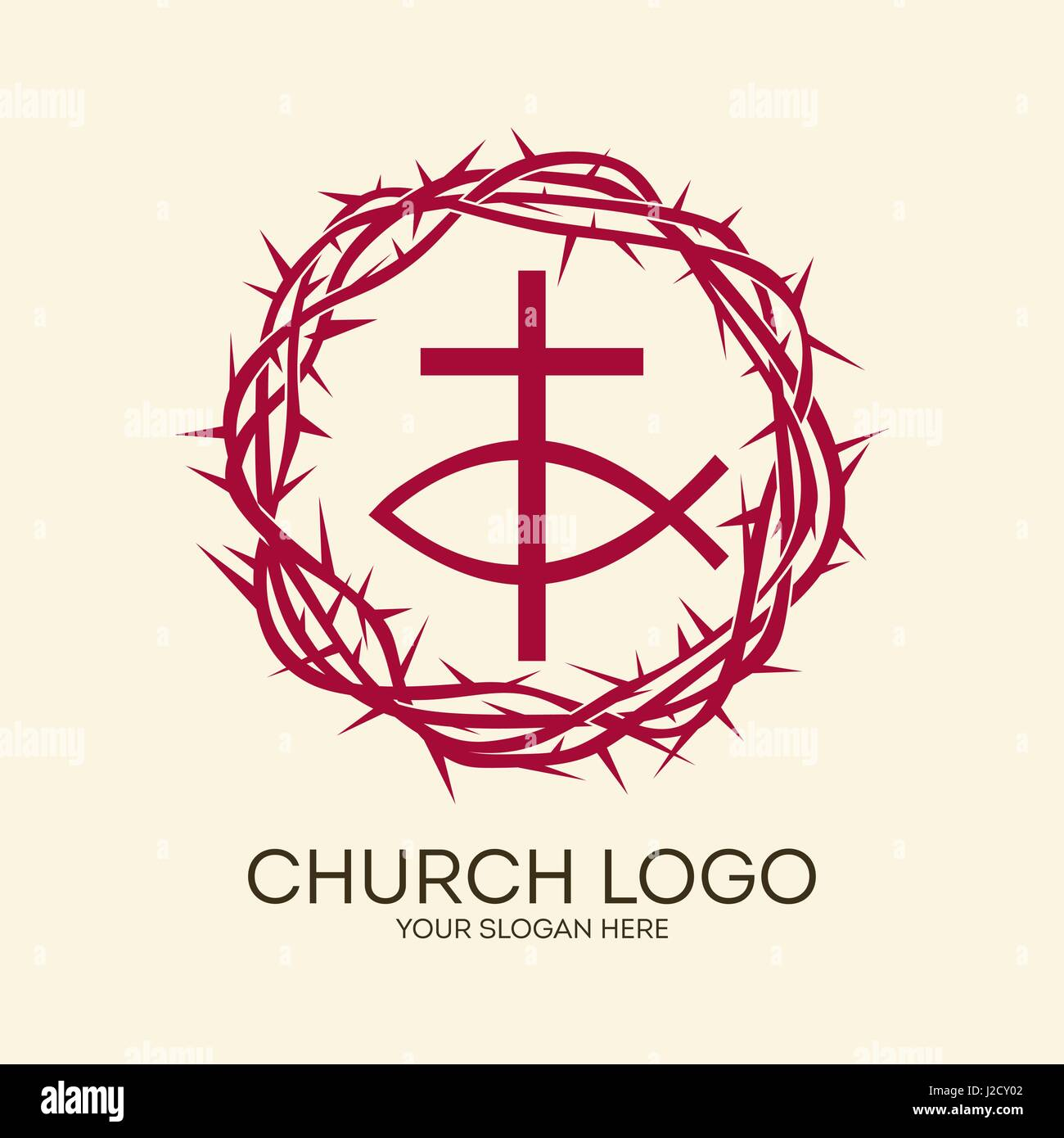 Church Logo Christian Symbols Crown Of Thorns Cross And Fish