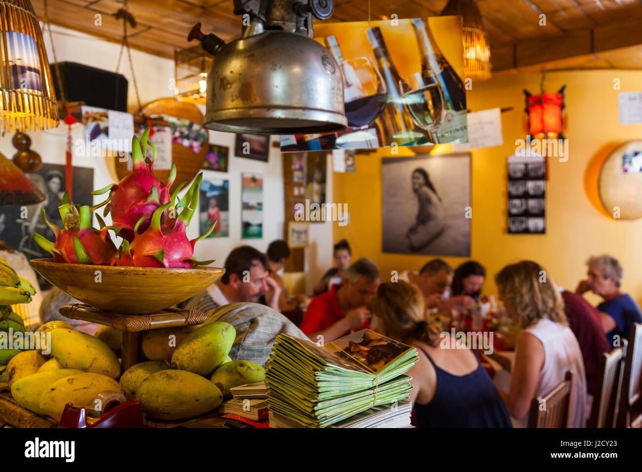 Vietnam, Hue. La Carambole Restaurant, interior of pre-eminent French-Vietnamese eatery - Stock Image