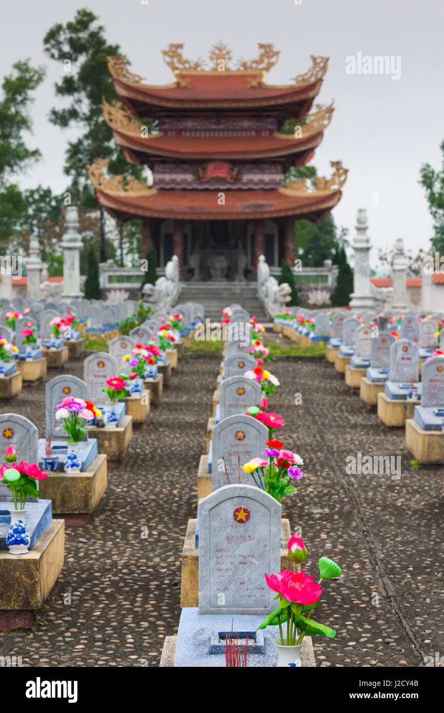 Vietnam, DMZ Area. Quang Tri Province, Cam Lo, North Vietnamese Military cemetery - Stock Image