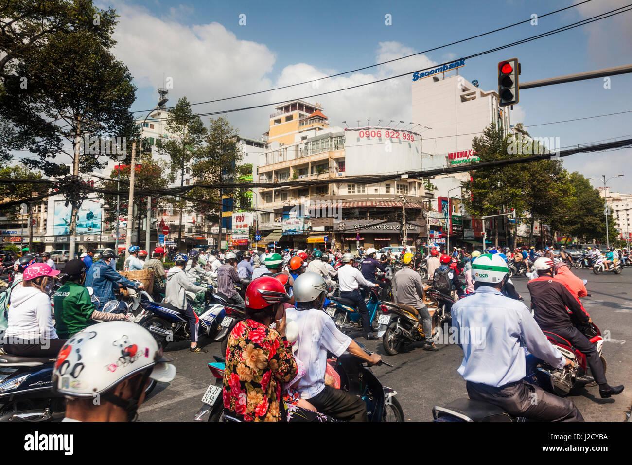 Vietnam, Ho Chi Minh City. Motorbike traffic - Stock Image