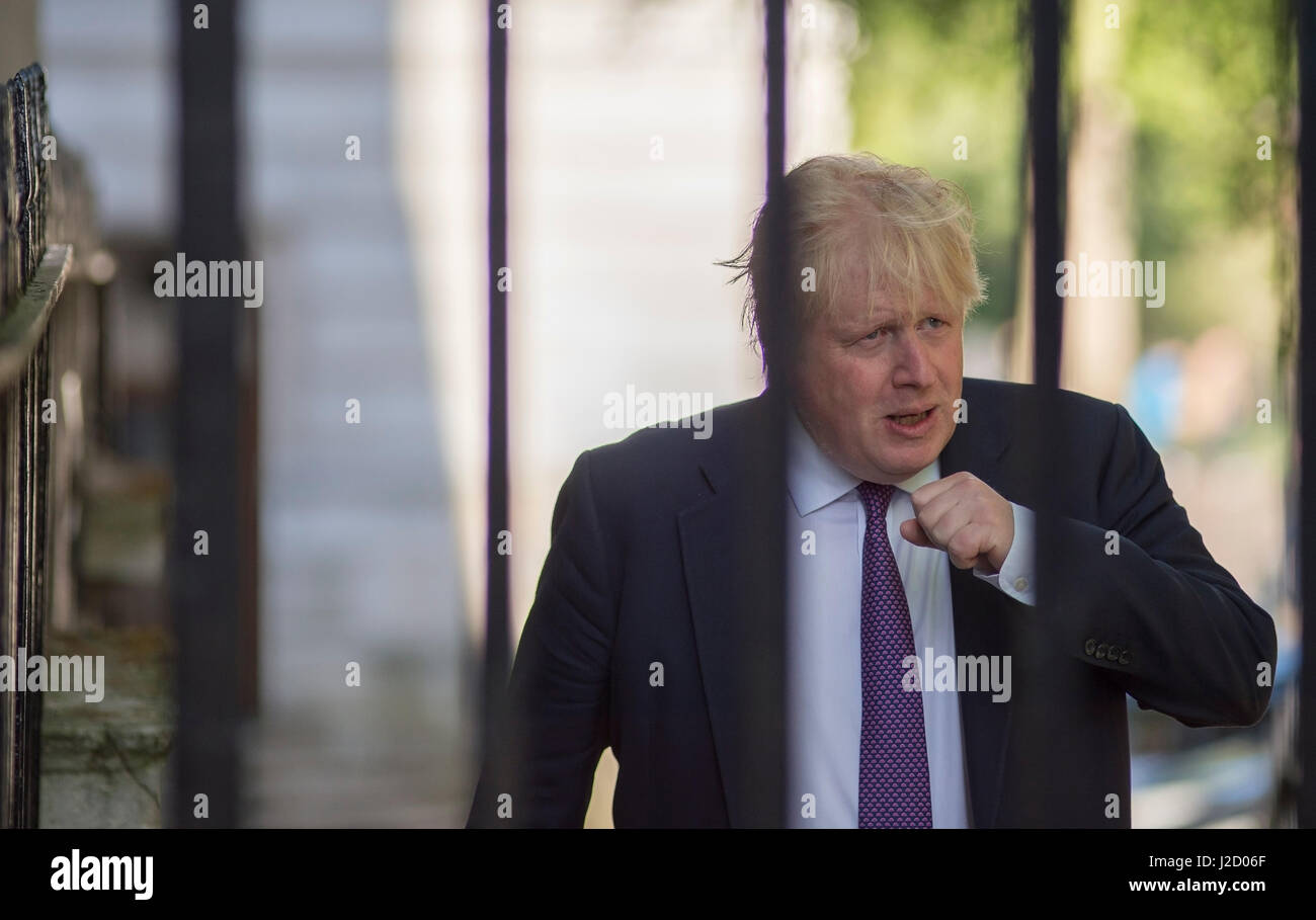 Government Minister Boris Johnson attending No 10 Cabinet Meeting on 25 April 2017, Downing Street, London UK. Credit: - Stock Image